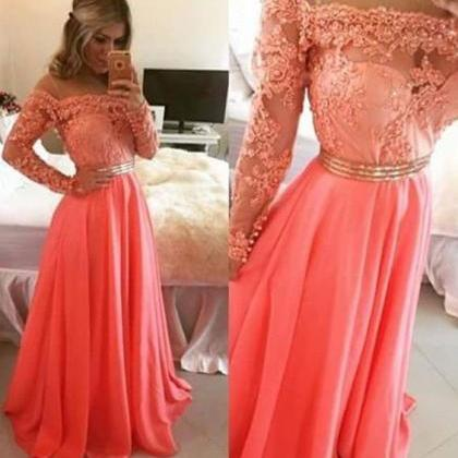 Charming Prom Dress,Long Sleeve App..