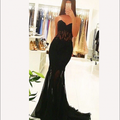 Charming Prom Dress, Sexy Black Pro..