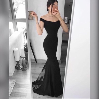 Black Lace Long Prom Dress, Sexy Me..