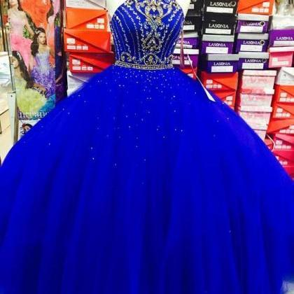 Charming Royal Blue Tulle Ball Gown..