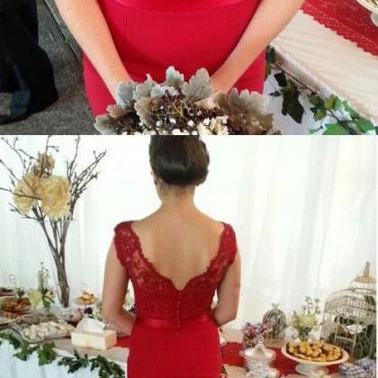 Red Mermaid Bridesmaid Dress with L..