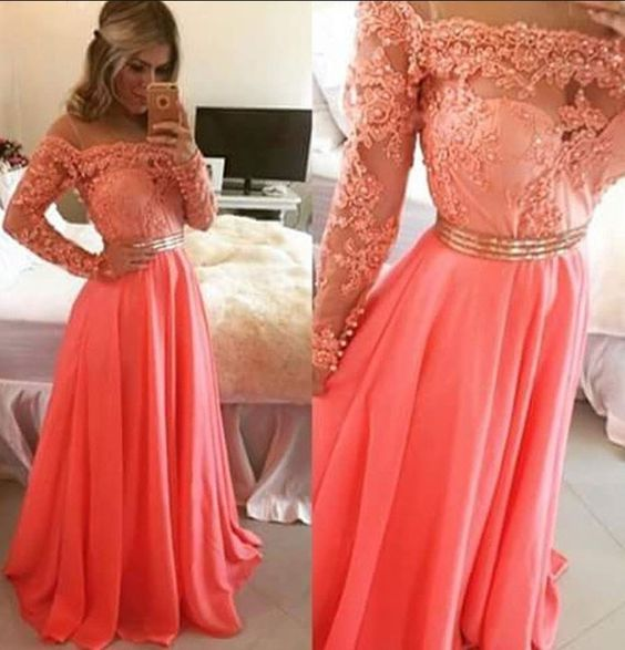Charming Prom Dress,Long Sleeve Appliques Prom Dress,Long Prom Dress,Floor Length Evening Dress F2260