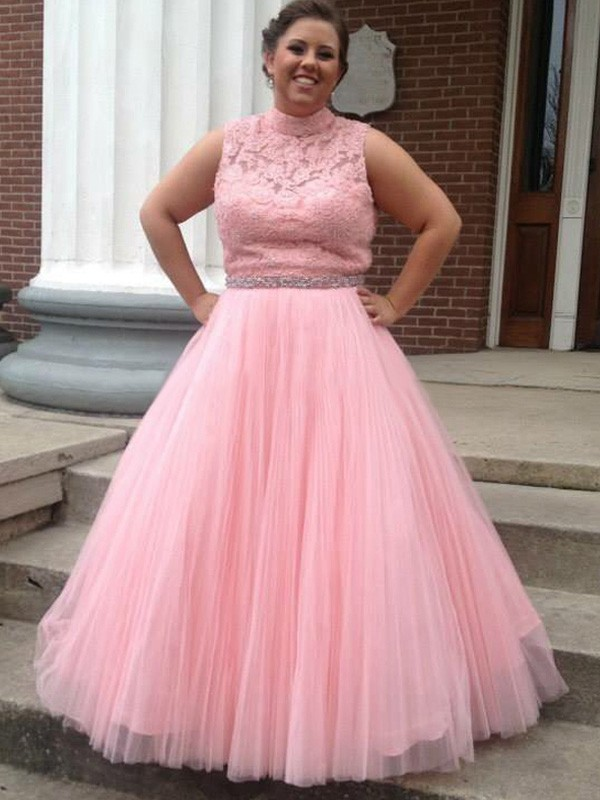 Elegant Plus Size Prom Dress,Pink Tulle Evening Dress,Floor Length Ball  Gown Evening Formal Dress,Women Dresses F2342