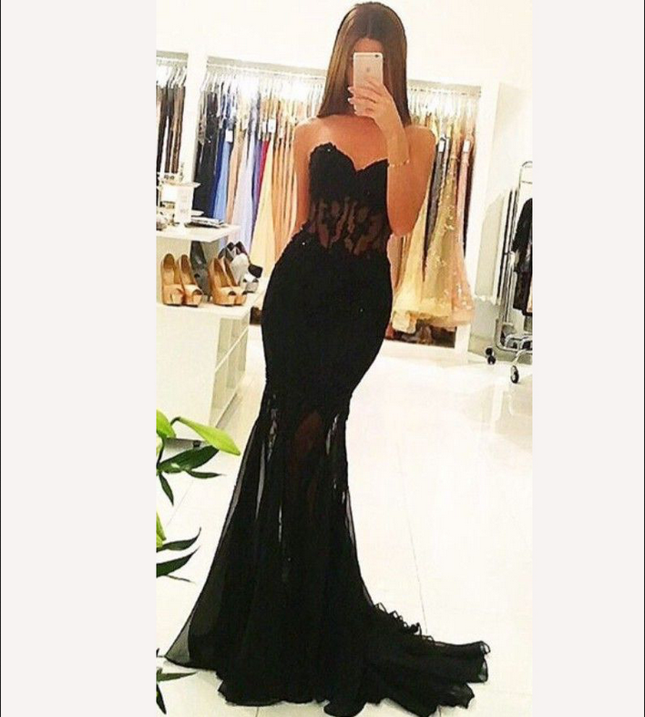 Charming Prom Dress, Sexy Black Prom Dresses, Tulle Mermaid Prom Dresses with Beaded,Long Evening Dress,Formal Dresses F2529