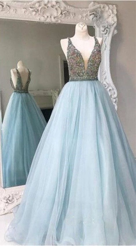 Charming Prom Dress Light Blue Dresses Long Evening Y Party Ball Gown F2600