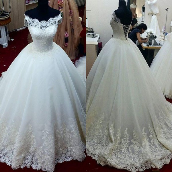 Charming Wedding Dress,White Tulle Ball Gown Wedding Dresses,Lace ...