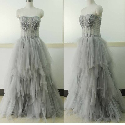 Charming Evening Dress,Strapless Prom Dress,Sexy Evening Dresses,Long Tulle Prom Dress,Sexy Prom Dress,Formal Dress F3272