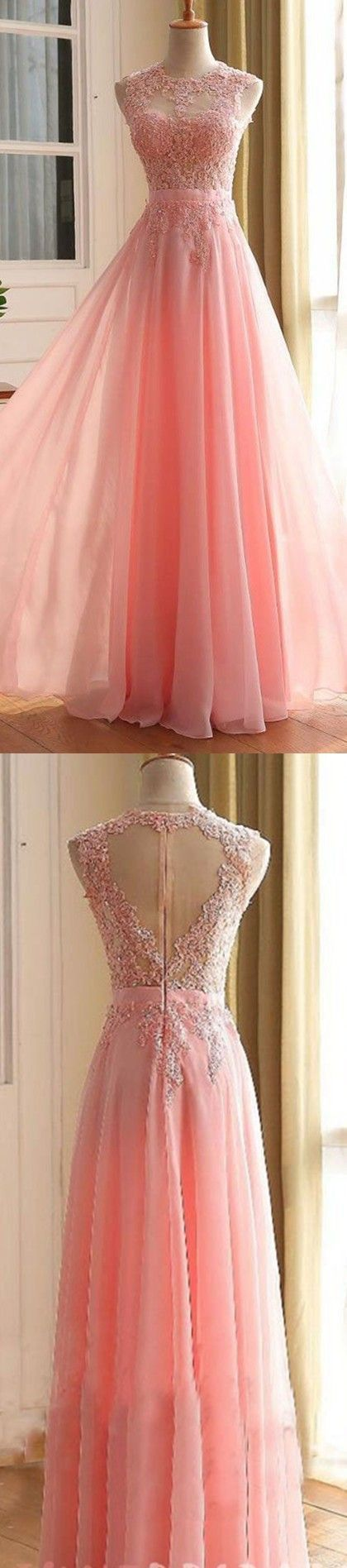 Charming Prom Dress,Long Appliques Evening Dress,A Line Prom Dress,Tulle Pink Prom Dresses F3604