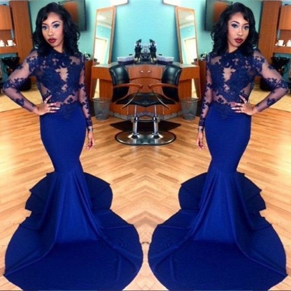 Charming Prom Dress, Mermaid Evening Dress, Appliques Evening Party Dresses, Long Sleeve Mermaid Prom Dresses F4100