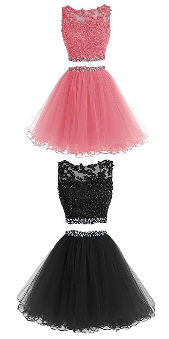 Charming Prom Dress, Short Prom Dresses, Two Piece Tulle Homecoming Dress, Appliques Prom Gowns, Elegant Prom Dress F4112