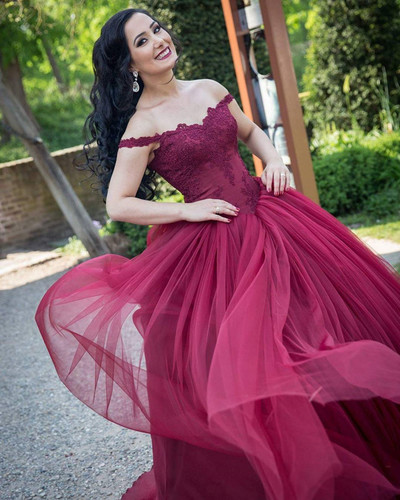 Sexy Prom Dress, Long Evening Dress, Off Shoulder Tulle Prom Dresses