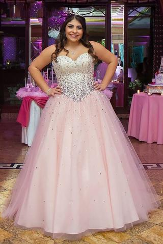 Charming Tulle Ball Gown Prom Dress, Crystal Beading Plus Size Prom ...