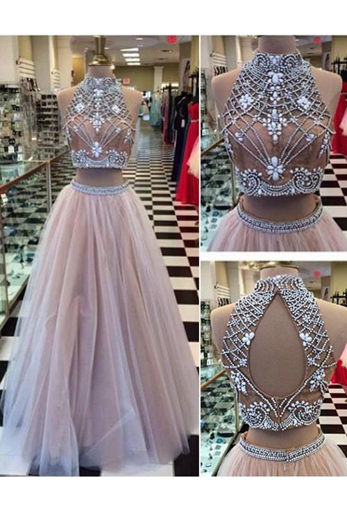 416d5aea5ce61 Elegant Two Piece Prom Dress, Sexy Tulle Prom Dresses, Formal Long Evening  Dress