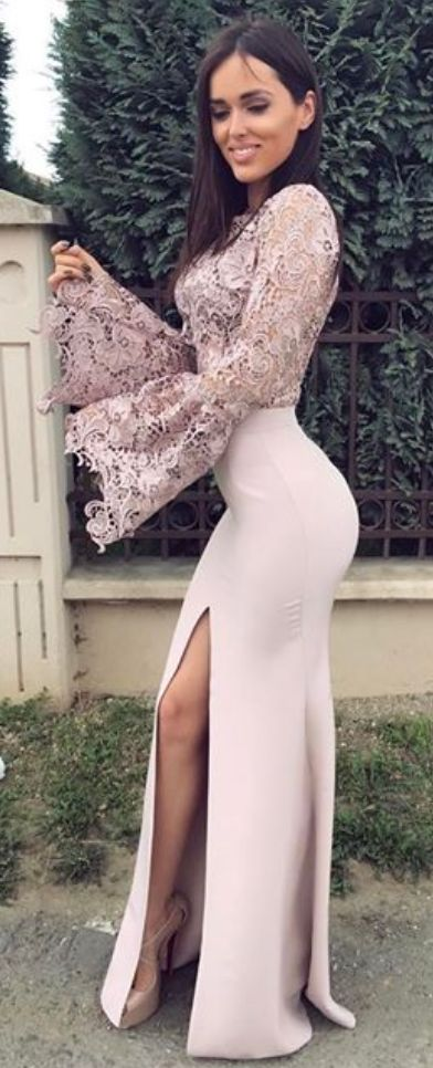 Charming Prom Dress, Sexy Mermaid Prom Dresses with Slit, Formal Evening Dress