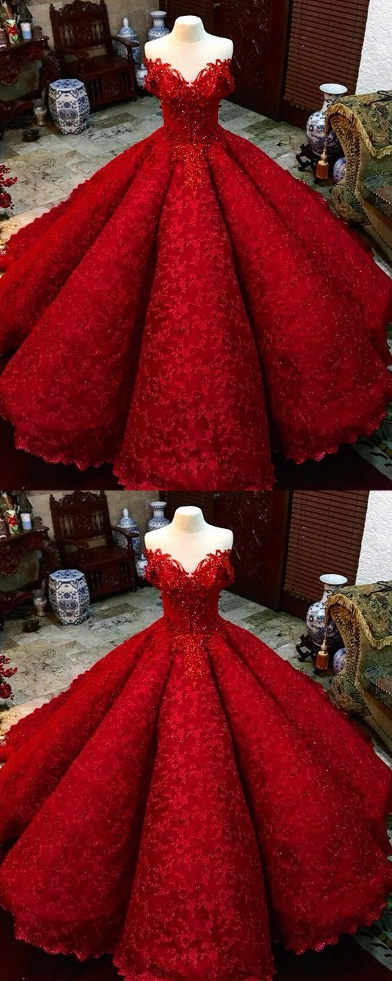 a40c7ffe4e Off Shoulder Appliques Red Ball Gown Prom Dresses, Sexy Quinceanera Dresses,  Sweet 16 Dresses