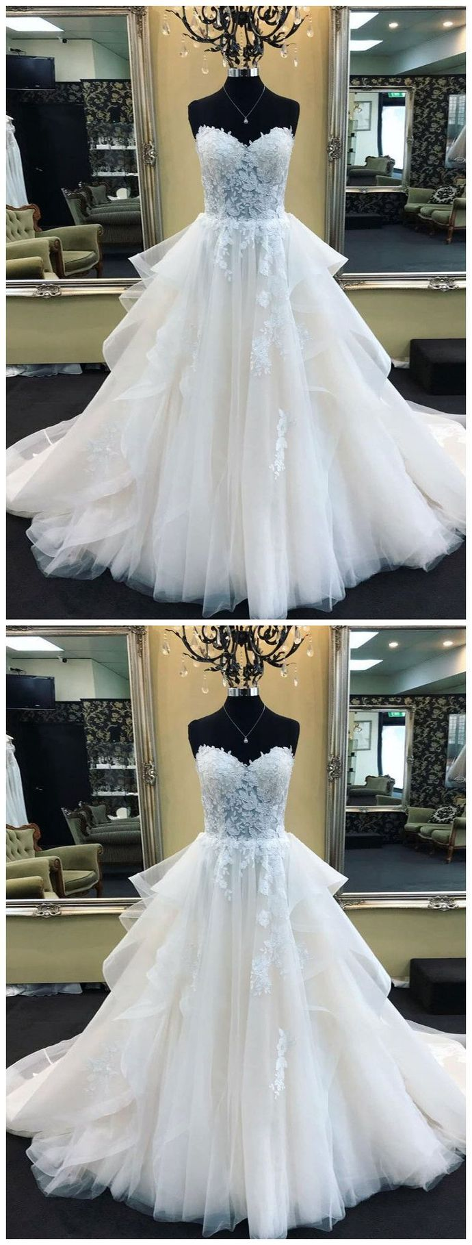 Sweetheart Neck Tulle White Wedding Dresses, Elegant Appliques Formal Bridal Dresses