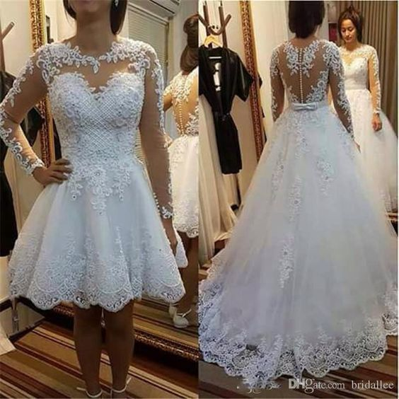 Long Sleeve Appliques White Tulle Wedding Dress With Detachable