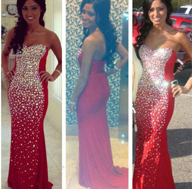 Mermaid Prom Dresses Strapless Sleeveless Backless Crystal Long Beaded Party Dress F149