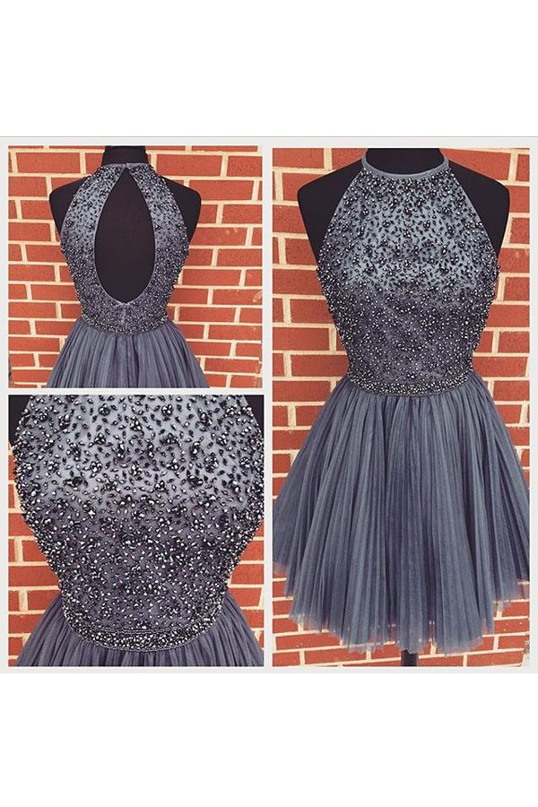Charming Prom Dress,Sleeveless Backless Prom Dress,Tulle Homecoming Dress,Short Prom Gown F575