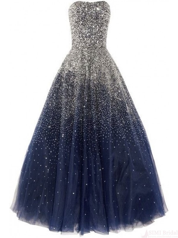 Glitter Floor Length A Line Tulle Evening Dress Featuring