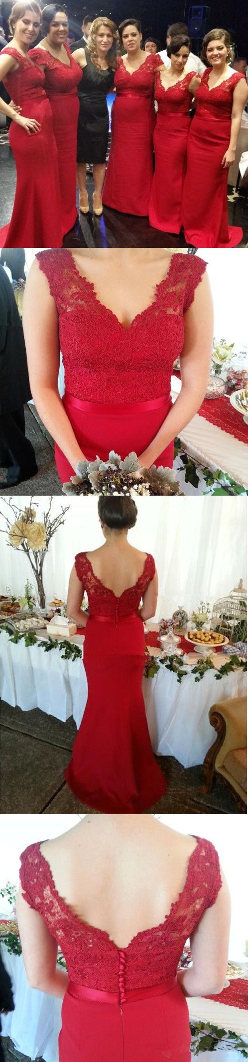 Red Mermaid Bridesmaid Dress with Lace,Long Bridesmaid Dresses F1171