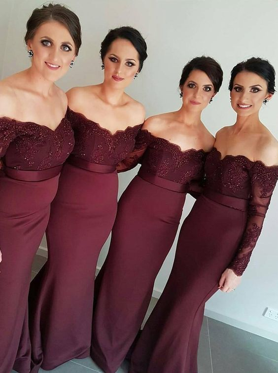 Burgundy Lace Off The Shoulder Long Sleeves Floor Length Trumpet Wedding Guest Dress Bridesmaid