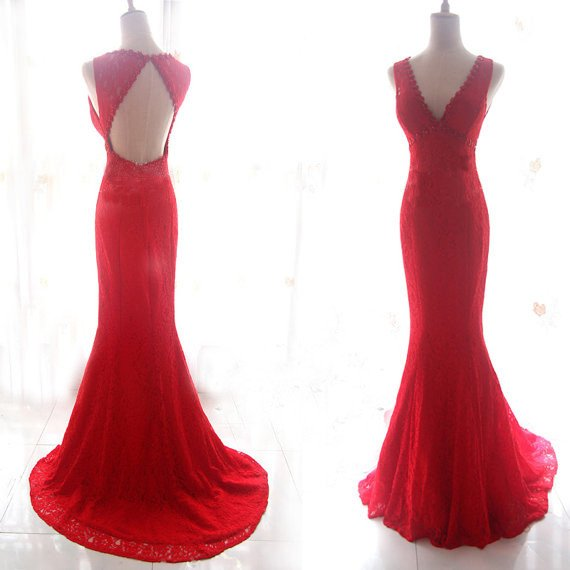 Charming Evening Dress,Red V Neck Mermaid Evening Dress,Sweep Train Prom Dresses,Formal Gown F1885