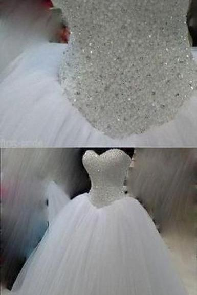 Bling Beading Sequin Sweetheart A Line Princess Wedding Dresses White Tulle Bridal Dresses F2245