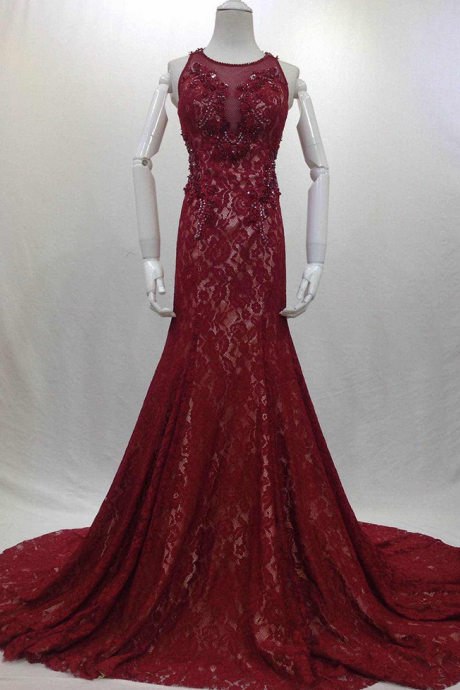 Charming Evening Dress,Lace Mermaid Evening Dresses,Formal Dress F2253