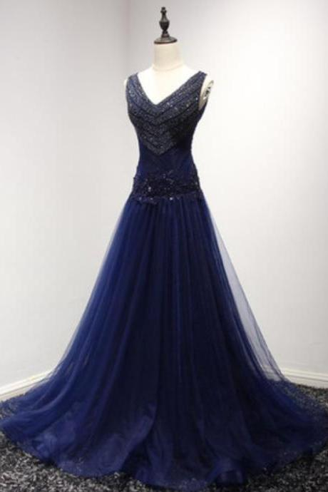 Charming Prom Dress, Long Prom Dress,A Line Tulle Prom Dress,Appliques Evening Dress, Formal Dress F2262