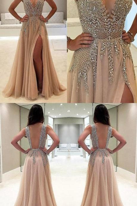 Sexy Prom Dress,Deep V Neck Prom Dresses with Beading,Elegant Evening Dress ,Formal Evening Dresses F2323