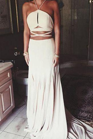 A-Line Halter Sleeveless Natural Backless Satin Chiffon Prom Dresses F2324