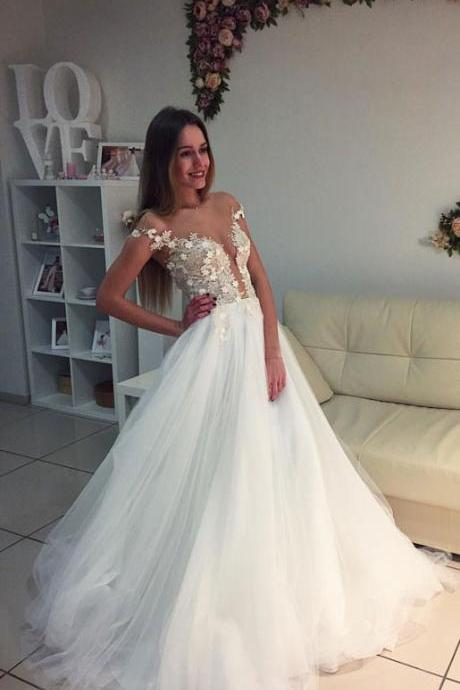 Elegant White Wedding Dress,Appliques Tulle Wedding Gown,Elegant Bridal Dresses F2348