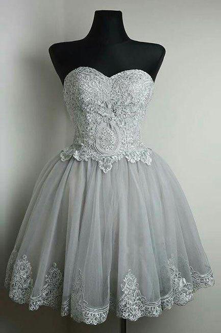 Elegant Prom Dress,Short Prom Dress with Appliques,Lace Prom Gown, Sweetheart Party Dress, Homecoming Dress F2402