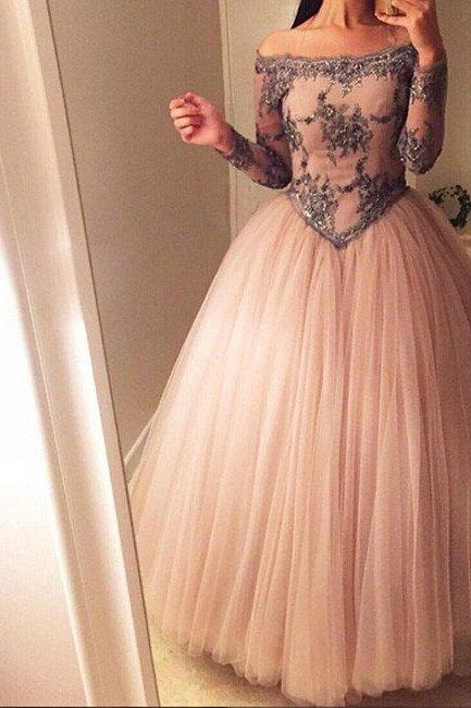 Elegant Prom Dress, Tulle Ball Gown Prom Dress,Full Sleeve Evening Dress,Sexy Long Prom Dresses F2422