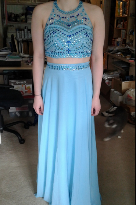 Charming Prom Dress,Two Piece Prom Dresses,Blue Prom Dress,Long Evening Dress,Homecoming Dress F2574