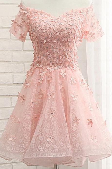 Elegant Homecoming Dress,Short Prom Gown,Lace Prom Dress,Pink Party Dress F2622
