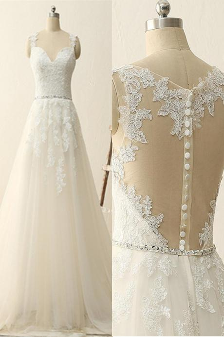 Charming Appliques A Line Lace Wedding Dresses,Sheer Back Lace Wedding Dress,Elegant Bridal Dresses F2646