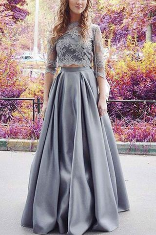 Charming Prom Dress,Elegant Prom Dress,Half Sleeve Prom Gown,Floor Length Homecoming Dresses, Lace Evening Dress,Formal Party Gown F2660
