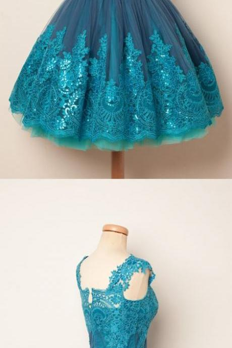 Charming Prom Dress,Elegant Prom Dress,Tulle Lace Prom Gown,Short Homecoming Dress,Graduation Dress F2675