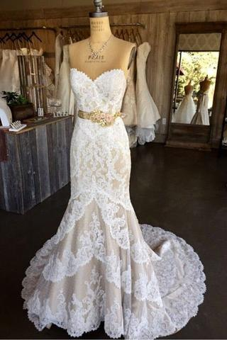 Mermaid Lace Wedding Dress,Sweetheart Lace Wedding Dresses,Long Wedding Gown,Sleeveless Bridal Dress F2686