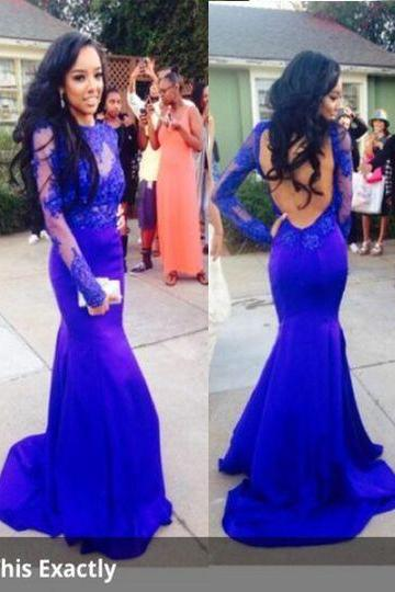Sexy Evening Dress,Long Sleeve Evening Dresses,Royal Blue Open Back Formal Gown,Lace Appliques Mermaid Prom Dresses,Formal Dress F2699