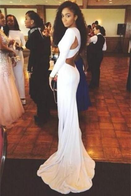 Sexy Evening Dress,Long Sleeve Evening Dresses,Formal Gown,Simple Mermaid Prom Dresses,Formal Dress F2701