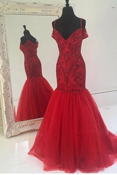 Charming Prom Dress,Sexy Red Mermaid Prom Dress,Beaded Tulle Spaghetti Straps Evening Formal Dress,Long Prom Dresses,Sexy Evening Dress,Formal Dress F2824