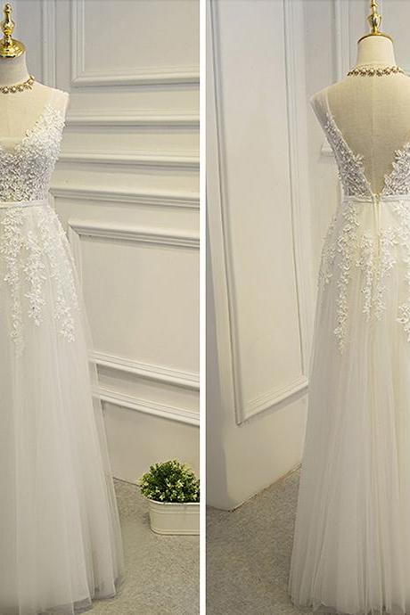 Elegant Wedding Dress,Tulle Wedding Dress,Lace Appliques Wedding Gown,Bridal Dress F2890