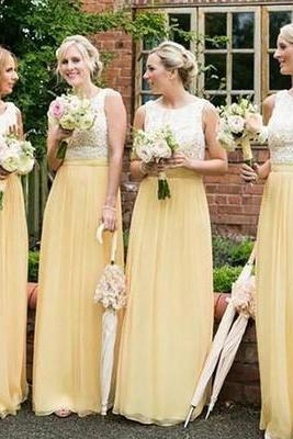 Charming Bridemaid Dress,Elegant Chiffon Bridesmaid Dresses,Lace Yellow Bridesmaid Dress F2959