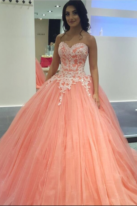 Charming Evening Dress,Ball Gown Prom Dresses,Lace Quinceanera Dress,Tulle Ball Gown Evening Dress,Formal Dress F3000