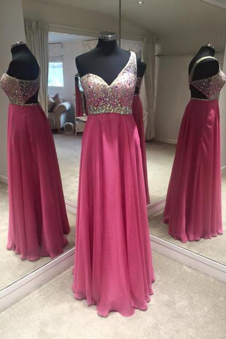 Charming Prom Dress,Elegant Chiffon Prom Dress,One Shoulder Prom Gown,Long Evening Dress with Crystal F3074