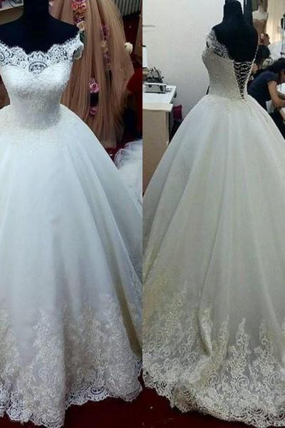 Charming Wedding Dress,White Tulle Ball Gown Wedding Dresses,Lace Wedding Gown,Elegant Bridal Dresses F3182