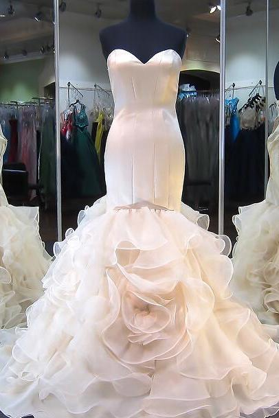 Charming Wedding Dress,Mermaid Wedding Dresses with Ruffles,Sexy Wedding Gown,Bridal Dresses F3255